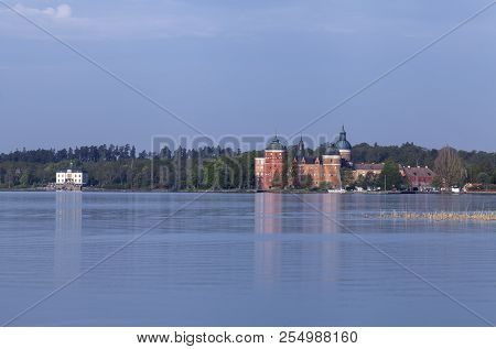 View Of Mariefred Town, Gripsholm Castle From A Distance. Outlook From The Camping Right Over The La