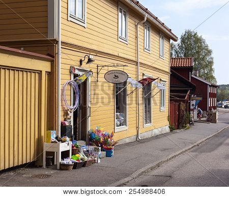 Mariefred, Sweden On May 11. Outdoor View Of A Street, Wooden Yellow Buildings On May 11, 2018 In Ma
