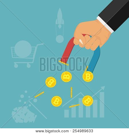 A Hand With A Magnet Attracts Gold Coins. The Hand Holds The Magnet And Draws The Bitcoins. The Conc