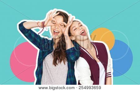 people, fashion and friendship concept -magazine style collage of happy teenage girls having fun and making faces over colorful background