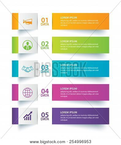 Infographics Tab In Horizontal Paper Index With 5 Data Template. Vector Illustration Abstract Backgr