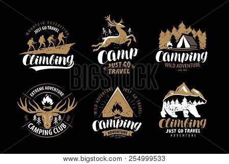 Camping, Hike Logo Or Emblem. Hiking Trip, Climbing Label Set. Vintage Vector