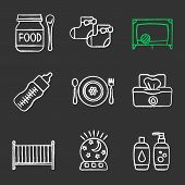 Childcare chalk icons set. Baby food, socks, playpen, feeding bottle, dishes, wet wipes, crib, night light, shampoo and soap. Isolated vector chalkboard illustrations poster