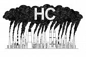 Vector artistic pen and ink drawing illustration of smoke coming from industry or factory smokestacks or chimneys into air. Environmental concept of HC or hydrocarbon air pollution. poster