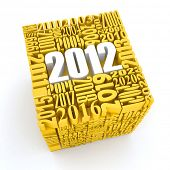 New year 2012. Cube consisting of the numbers. 3d poster