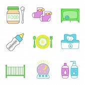 Childcare color icons set. Baby food, socks, playpen, feeding bottle, dishes, wet wipes, crib, night light, shampoo and soap. Isolated vector illustrations poster