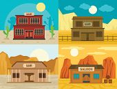 Saloon pub wild west banner concept set. Flat illustration of 4 Saloon pub wild west banner concepts for web poster