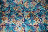 Quilted Pattern Squares Swirls Blue Gold Purple Green Teal Emerald poster