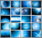 Big set of blue technical backgrounds. poster