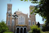 Main christian orthodox Metropolitan Cathedral of whole Greece in Athens poster