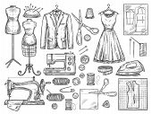 Tailor or dressmaker work and fashion designer atelier sketch items. Vector sewing machine or seamstress pattern cut and dress fitting dummy mannequin with thread, needle or thimble and iron poster