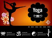 Yoga website template, with oriental icons poster