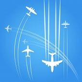Transport and civil airplanes trajectories poster