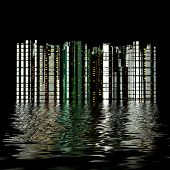 3 D city reflection in water. Night . poster