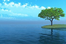 lonely tree reflected in the water  - 3D rendering