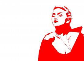 Aug, 2018: Famous Singer Madonna Vector Outline Portrait On A Black On White Background