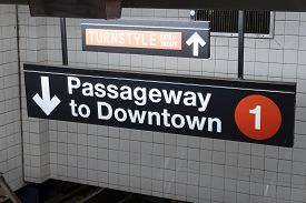 New York, Usa - May 21, 2018: Sign Pointing The Passageway To Downtown Trains In A Subway Station In