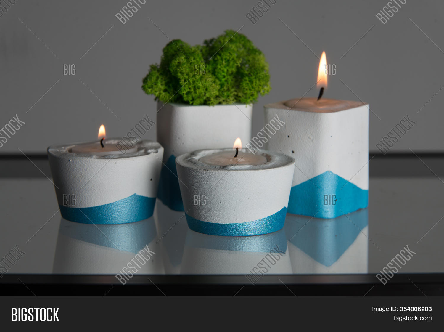 Candles Moss White Image Photo Free Trial Bigstock