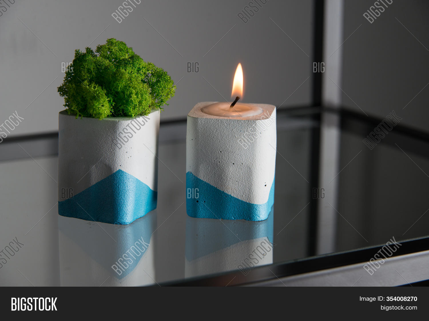Candle Moss White Blue Image Photo Free Trial Bigstock