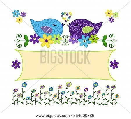 Vintage Card With Colored Squats And Flowers In Applique Style And Banner For Inserting Your Text. V