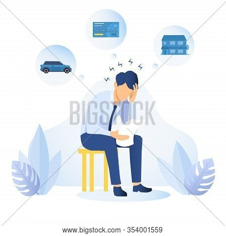 Man With Financial And Debt Problems Sitting On A Stool With Paperwork With His Head On His Hand Sur