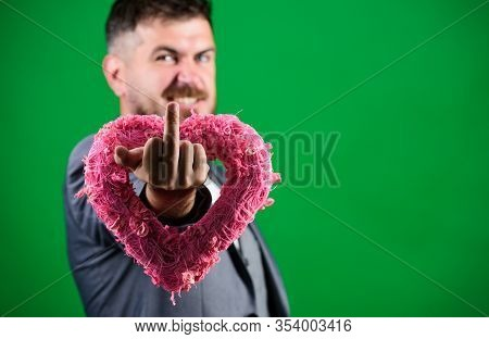 Inveterate Bachelor. Valentines Day Holiday. Stylish Esthete With Decorative Heart. Bearded Man In F