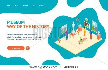 Museum Hall Interior Landing Web Page Template Isometric View Include Of Column, Artifact, Picture,