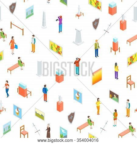 Museum Hall Seamless Pattern Background On A White Isometric View Include Of Column, Artifact, Pictu