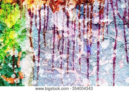 Surface Texture With Splashes Of Paint And With Paint Running Down On A Cracked Surface Structure Of