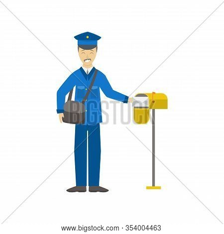 Cartoon Color Postman Male Character Person Delivery Occupation And Profession Concept Element Flat