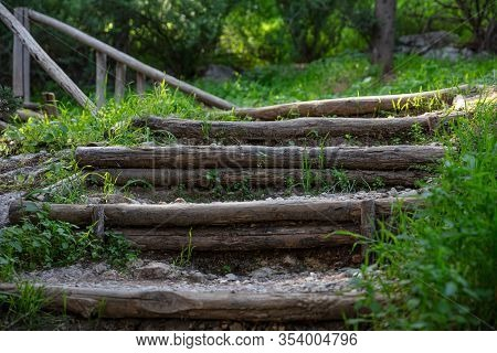 Athens, Greece. Stairs Going Up To Filopappou Hill. Adventure, Hiking And Healthy Lifestyle At Wild