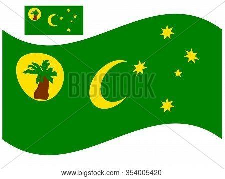 Wave Cocos Islands Flag Vector Illustration Eps 10.