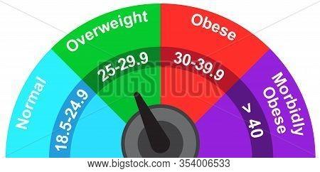 Body Mass Index Indicator Meter Overweight Illustration