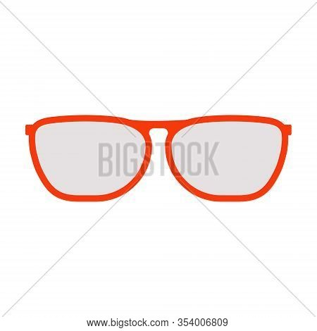 Red Glasses With Grey Glasses Front View Of The Classic Shape. Flat Illustration.summer Stylish Glas