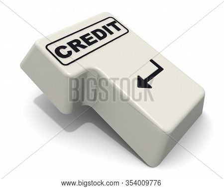 The Enter Key Of Keyboard Labeled Credit. Computer Enter Key Of Keyboard With Black Word Credit Isol