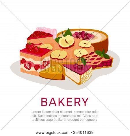 Bakery Homemade Berries Pies Dessert Vector Illustration Isolated Pie Tart. Cartoon Berry Cheesecake