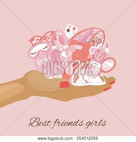 Girls Items, Female Stuff, Girlish Things On Cartoon Hand, Fashion Accessories Vector Illustration.