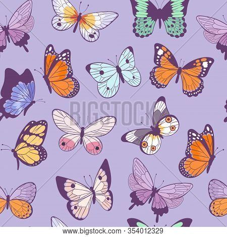 Butterflies Seamless Pattern Flying Beautiful Spring And Summer Insects Vector Cartoon Illustration.