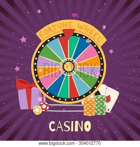 Casino With Fortune Spinning Wheel, Card And Dibs Gambling Concept, Win Jackpot Cartoon Vector Illus