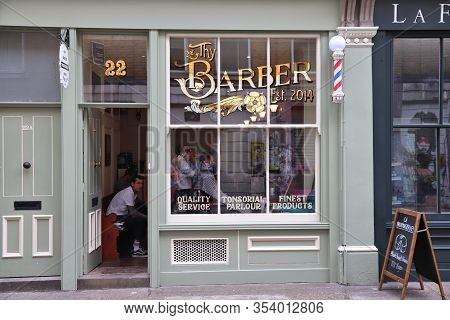 London, Uk - July 13, 2019: Local Barber Shop Thy Barber At Cheshire Street In East London. It Is A