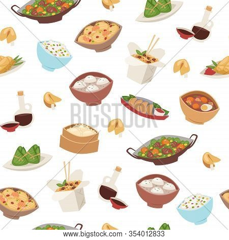 Chinese Food, Asian Street And Restaurant Cuisine Dishes Semless Pattern Cartoon Vector Illustration