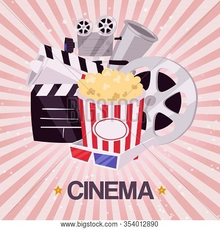 Cinema Movie Box And Popcorn Bowl, Film Strip And Video Attributes Retro Vector Illustration. Cinema