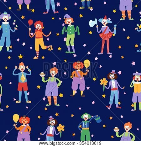 Clown In Circus, Juggler And Acrobat Actors Seamless Pattern Cartoon Vector Illustration. Clowns Ent