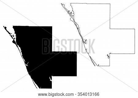 Sarasota County, Florida (u.s. County, United States Of America, Usa, U.s., Us) Map Vector Illustrat