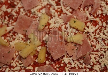 Pizza Hawaii Macro Background Stock Photography High Quality