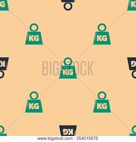 Green And Black Weight Icon Isolated Seamless Pattern On Beige Background. Kilogram Weight Block For