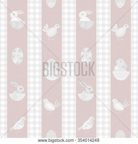 Easter Bunny Seamless Vector Pattern Background. Cute Rabbit , Chicks, Eggs Illustration. Scandinavi