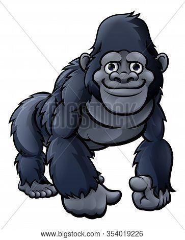 A Cute Friendly Cartoon Gorilla, Monkey, Ape Or Chimpanzee Character