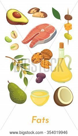 Fat Food Set. Vector Fats Icons Collection. Diet, Delicious Meal: Avocado, Nuts, Olive Oil, Salmon A