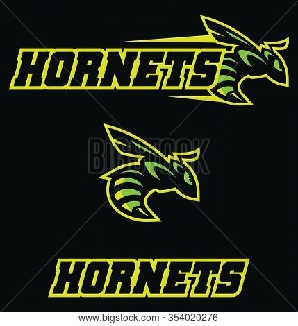 Mascot Illustration With Determined Hornet In Attack.